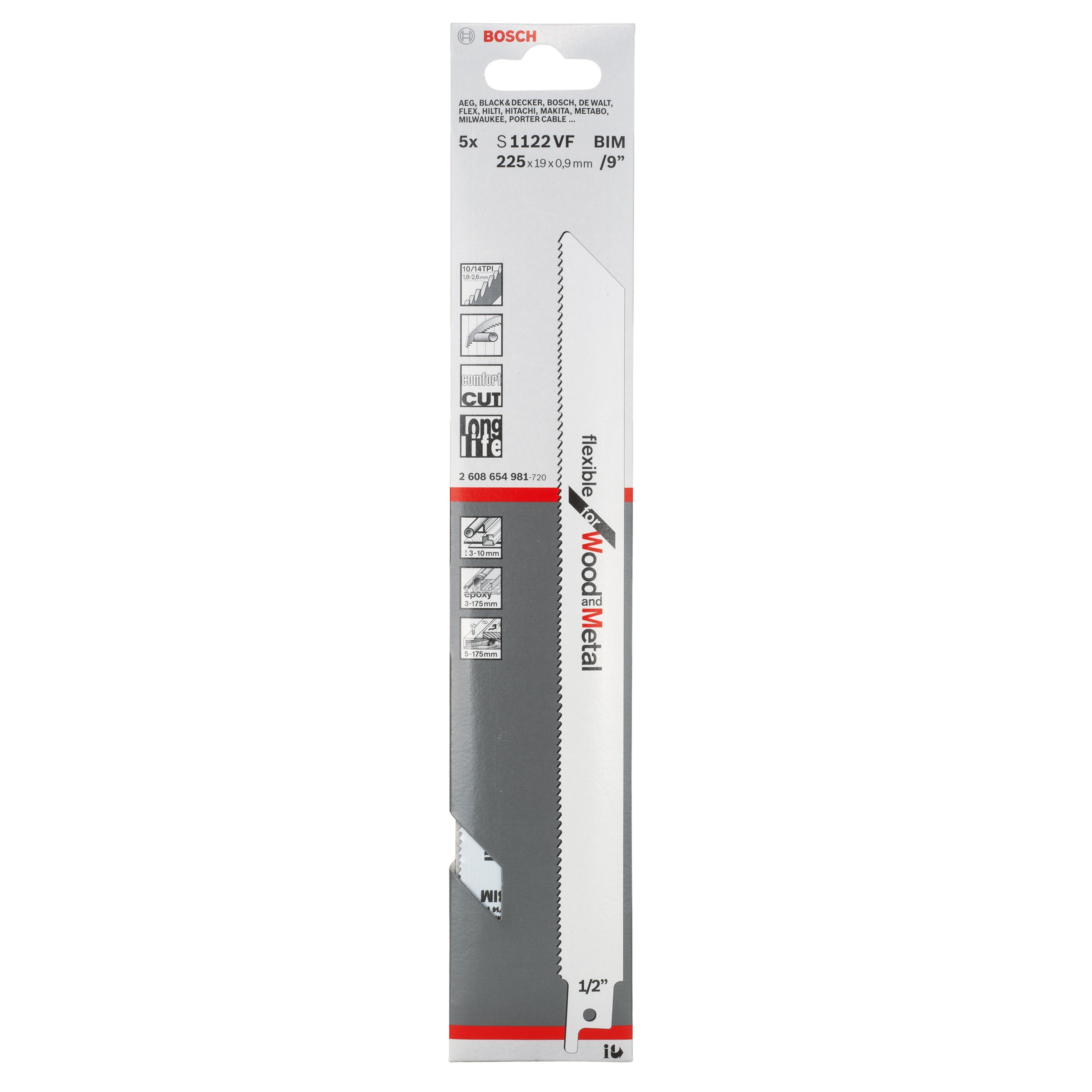 Bosch Reciprocating (Sabre) Saw Blades - S 1122 VF (5 pack)